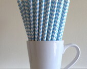 Light Blue Chevron Paper Straws Party Supplies Party Decor Bar Cart Accessories Cake Pop Sticks Mason Jar Straws Graduation Party