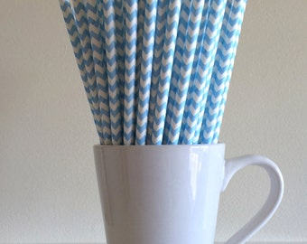 Light Blue Chevron Paper Straws Party Supplies Party Decor Bar Cart Cake Pop Sticks Mason Jar Straws  Party Graduation