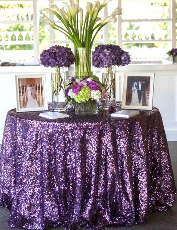 Purple Sequin Tablecloth Round Wedding Tablecloth Sparkle