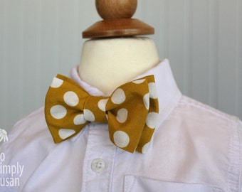 boys bow tie, polka dot bowtie, photo prop, mustard tie, gold white, double bow tie, matching bowtie, gold dot bow tie,sibling photo outfit