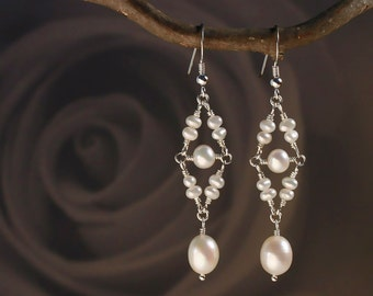Pearl Earrings in Sterling Silver - Chandelier Pearl Earrings with Freshwater Pearls - Wire Wrapped - Dangle & Drop  00138S - by allotria