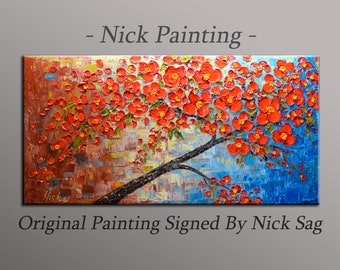 "Impressionist Contemporary Oil painting on canvas heavy Impasto - Blooming Cherry Tree- By Nick Sag 4o"" x 20"""