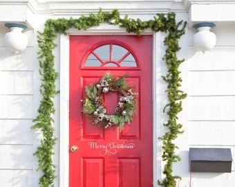 Merry Christmas Front Door Decal Vinyl Lettering Wall Words Wall Art Merry Christmas Front Door Decal