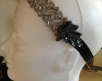Silver Art Deco Headband Pewter Headband 1920s Head piece Roaring 20s party headband