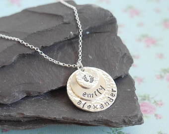 Personalised Gift Idea for Her, Stacked Mothers Necklace, Hammered, Layered, Baby Feet, Personalised, Childrens Names, Triple Disc Pendant