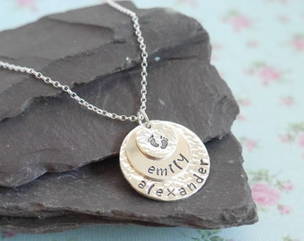 Personalised Gift Idea for Her, Sterling Silver Stacked Mothers Necklace, Hammered, Layered, Baby Feet, Childrens Names, Triple Disc Pendant