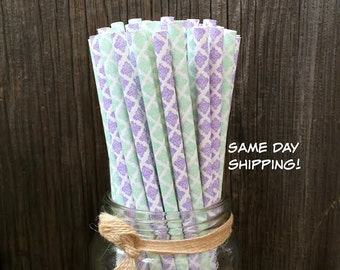 100 Lilac and Mint Green Damask Paper Straws- Wedding, Bridal or Baby Shower, Birthday Supply, Free Shipping!