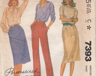 McCalls 7393 Classic Trouser Skirt and Pleated Pants, Front Zipper, Inset Pockets, Palmer Pletsch, Size 12 Waist 26 1/2