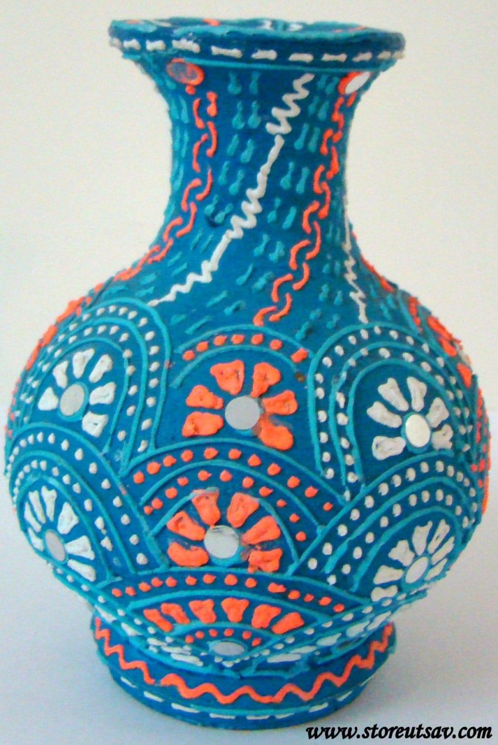 Home Decor Clay Vase Handmade Indian Handicraft Brush