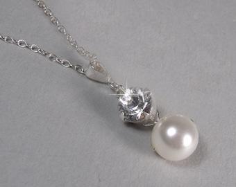 Pearl Pendant Necklace, Pearl and Rhinestone Pendant, Bridal Pendant, Bridesmaid Pendant, Ivory Pearl Pendant, Pearl, Diamante  ETERNITY