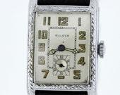One Piece Bulova Wrist Watch with Engraved Case 1920s