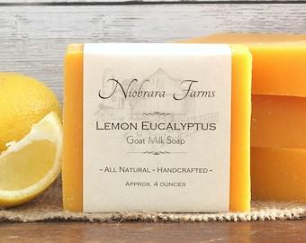 All Natural Soap - Lemon Eucalyptus Goat Milk Soap - Handmade Soap - Kitchen Soap - Cold Process Soap - Handcrafted Soap - Moisturizing Soap