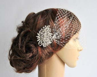 Bandeau Veil with rhinestonecomb, Birdcage Veil, Wedding Veil, Bridal Veil, Russian Veil, Bird Cage Veil with rhinestone comb, bridal comb