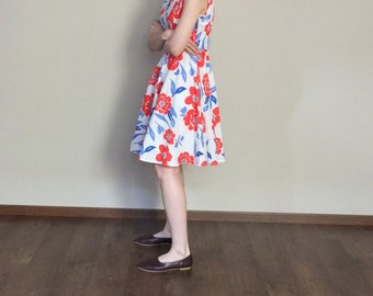 spring summer tricolor floral sleeveless stand collar garden party dress