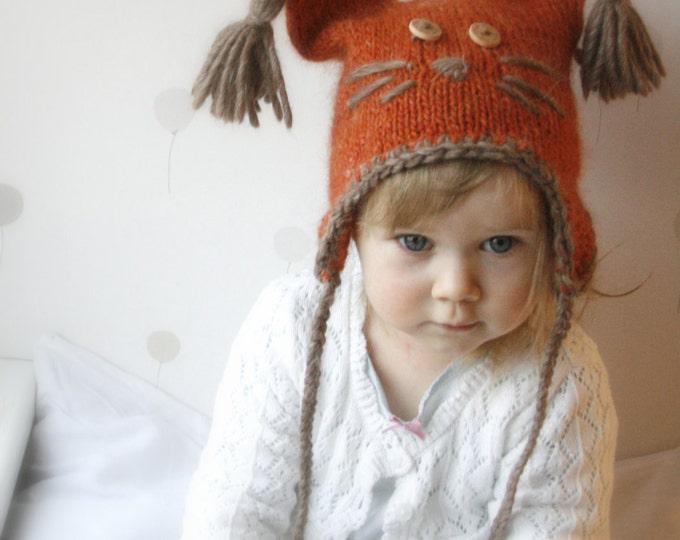KNITTING PATTERN earflap animal hat Squirrel Sibo (baby/ toddler/ child/ woman sizes)