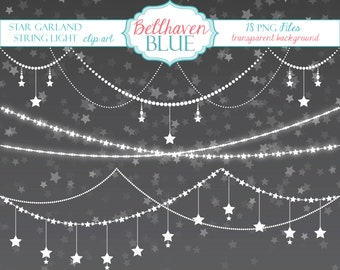 Star Garland String Light Clip Art