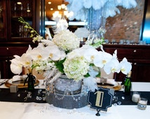 Round Mirrored & Bling Centerpiece/Cake Riser for a Gatsby -Art Deco -Vintage -Roaring 20s- Wedding - Make a Statement on Your Special Day!
