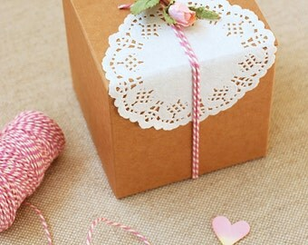 10x Kraft DIY Gift & Favour Box 10cm square