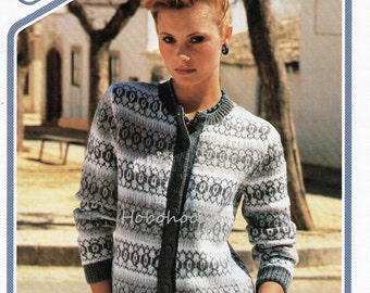 Ladies fair isle round neck cardigan - 32 to 38 inch bust - DK - knitting pattern - pdf instant download