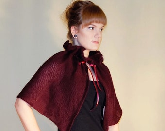 Victorian Capelet Wine Red cover up Bridesmaid cape gift Red Riding Hood capelet Cosplay Capelet Wrap with satin bow