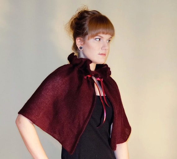 Victorian Jacket, Coat, Ladies Suits | Edwardian, 1910s, WW1 Victorian Capelet Wine Red cover up Bridesmaid cape gift Red Riding Hood capelet Cosplay Capelet Wrap with satin bowVictorian Capelet Wine Red cover up Bridesmaid cape gift Red Riding Hood capelet Cosplay Capelet Wrap with satin bow $31.00 AT vintagedancer.com