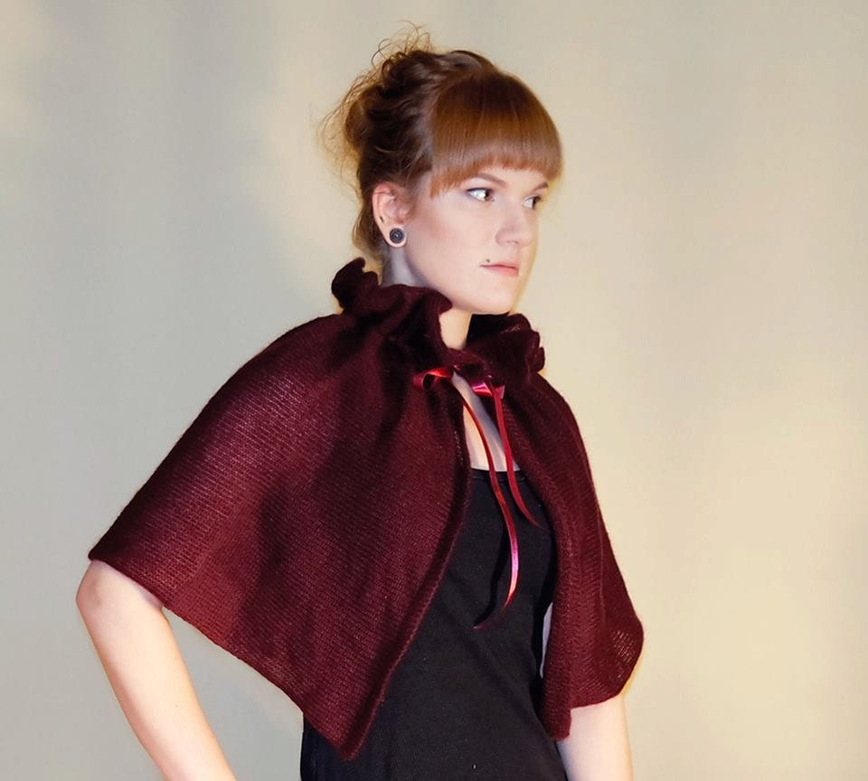 Victorian Capelet Wine Red cover up Bridesmaid cape gift Red