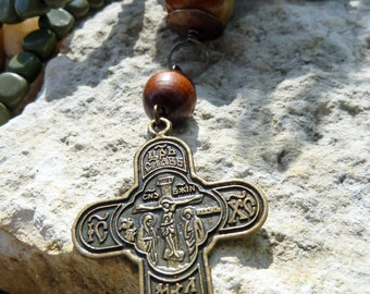 Mystery - Stone Wood & Bronze Cross Necklace Russian Prayer Pendant Jewelry Faith Inspired Jewelry Green Brown Burgundy Earth Color Necklace
