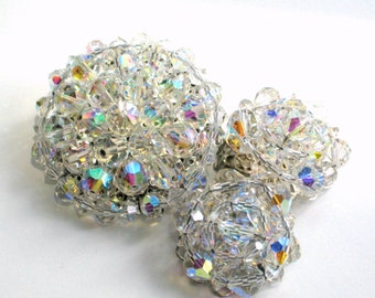AB Glass Brooch Pin Clip Earrings Set Vintage 60s Jewelry Faceted Beads