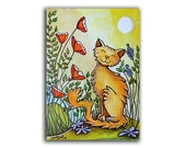 ACEO print, cat aceo, cat and flowers, Aceo prints, red flower aceo, artist trading card, flower aceo, art print, cat illustration