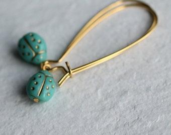 Turquoise Ladybird Earrings ... Ladybug Bug Vintage Glass