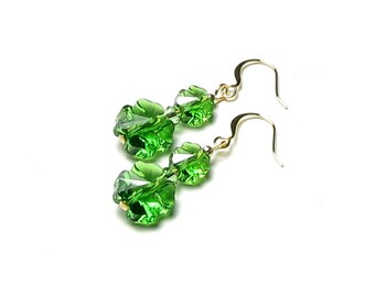 St. Patrick's Day Green Shamrock Earrings, Swarovski Crystal Four Leaf Clover, Spring Jewelry Gift For Women, Lucky Irish Charm Gold Peridot