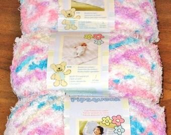 Bernat Pipsqueak Baby Yarn 3 Balls Bulky 100% Polyester 120 Yd - 360 Total - Lot CA00111 Color 59315 Sittin Pretty Blue White Pink Purple