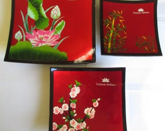 Vintage Vietnam Airlines Lacquer Trays