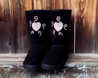 Ladies Fashion Boots w/ Swarovski Bling Wild Heart Custom Crystal Design Rhinestone Jewel  UGG & Suede Fleece Tall style Winter dress Shoes