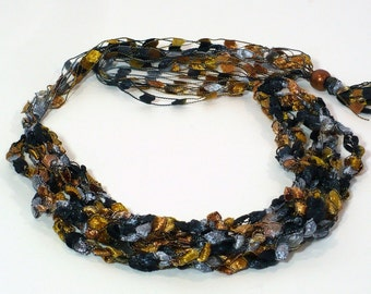 Silver, Copper & Black Ladder Yarn Necklace - Handmade Fiber Necklace, Soft Crocheted Choker or Lariat Necklace, Ready to Ship