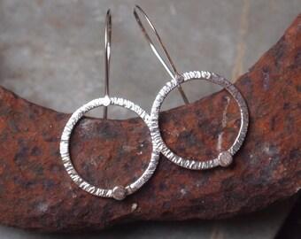Sterling silver ring hoop earrings, silver hammered hoop dangle earrings, handmade sterling silver jewelry by ARCJewellery UK