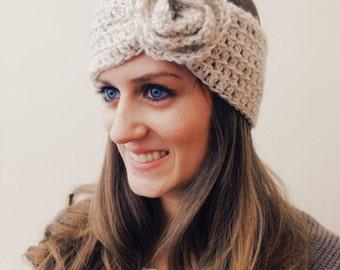 Crocheted Neutral Flower Ear Warmer, Headband