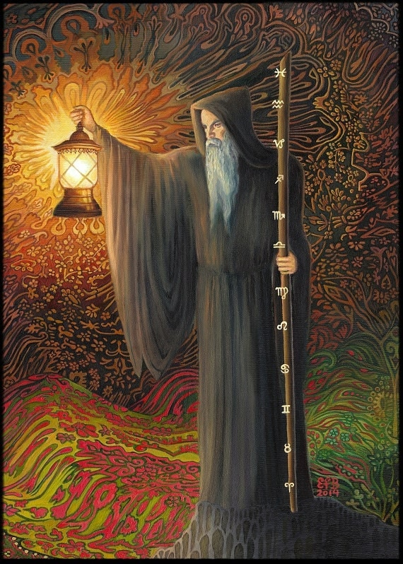 The Hermit Tarot Card Meaning In Readings Isolation: The Hermit Tarot Art 8x10 Fine Art Print Psychedelic Surreal
