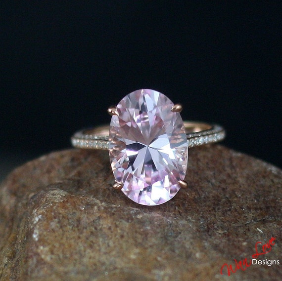 Pale Light Pink Amp White Sapphire Engagement Ring Oval 9ct