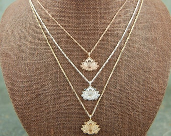 Lotus Necklace in Recycled Sterling or 14k Gold vermeil. Unique Lotus Flower Yoga Jewelry - great for layering!  AS SEEN IN Yoga Magazine!