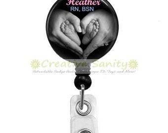 Personalized Nurse Retractable ID Badge Holder, Personalized Hands Heart, NICU, Pediatrics, Badge Reel,Carabiner,Lanyard, or Steth ID Tag