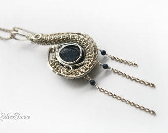 925 Silver Lapis Lazuli Pendant | Handmade Wire Wrapped Pendant | Ready to Ship