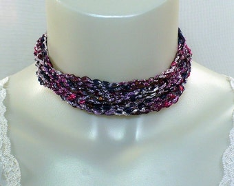 Shades of Purple Ladder Yarn Necklace - Crocheted Ribbon Necklace, Handmade Fiber Jewelry, Yarn Necklace, Crochet Jewelry, Ready to Ship