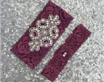 BURGUNDY Lace Wedding Garter Set, Bridal Garter CRYSTAL Rhinestone CREST Show & Dual Crystal Toss