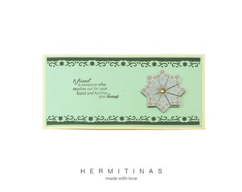 Tea bag folding greeting card. Green and yellow greeting card. Green flower friendship card.2 shades   green tea bag folding greeting card.