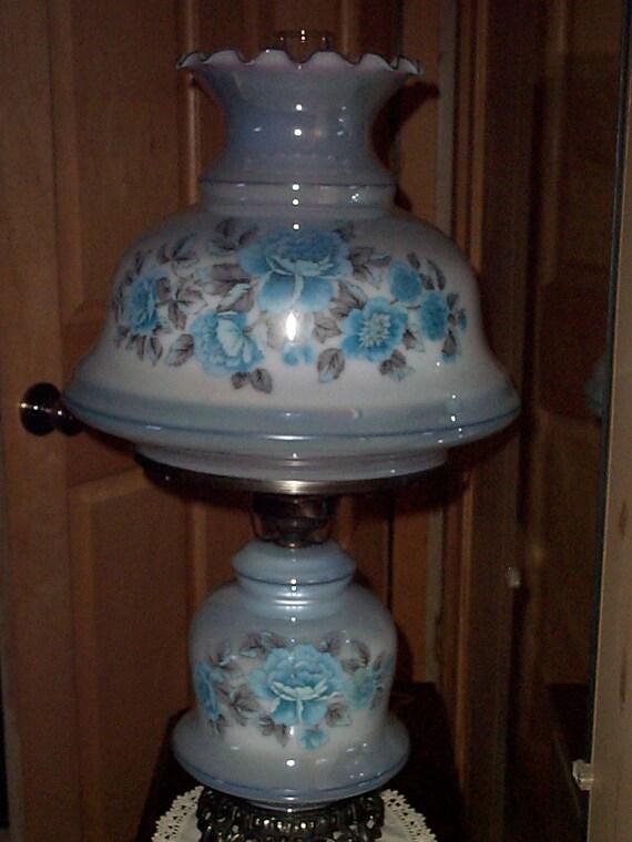 Vintage Hurricane Table Lamp Gwtw Glass Parlor Light White