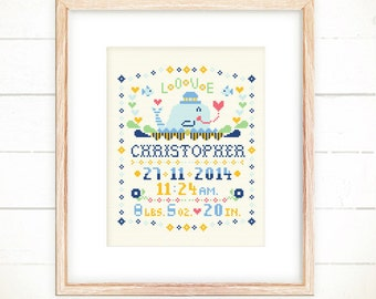 Cross stitch pattern,Baby announcement ideas,Baby xstitch,Custom cross stitch,baby cross stitch sampler,Baby shower -Little Whale with LOVE