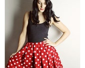 MINNIE MOUSE SKIRT- Handmade Disney Skirt - Halloween Costume Minnie Mouse - Red White Polka dot - Halloween Costume adult