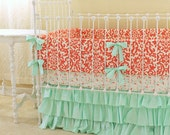 Coral Spice - Mint and Coral Baby Girl Crib Bedding Set featuring Coral Damask in Custom Baby Nursery