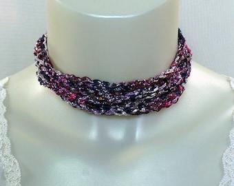 Shades of Purple Ladder Yarn Necklace - Crocheted Ribbon Necklace, Handmade Fiber Jewelry, Yarn Necklace, Crochet Jewelry, Adjustable Choker